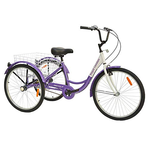 Royal London Adult Tricycle 3 Wheeled Trike Bicycle w/Wire Shopping Basket Purple