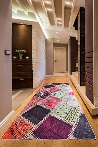 Wohnzimmer Teppich Halle Gel Läufer Patchwork rutschfest waschbar bunt (bunt, 80 x 200 cm)