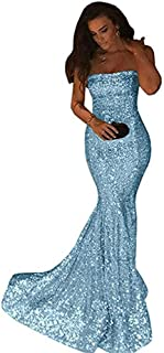 Women's Mermaid Strapless Sparkly Sequins Long Prom Dress Sexy Evening Gowns