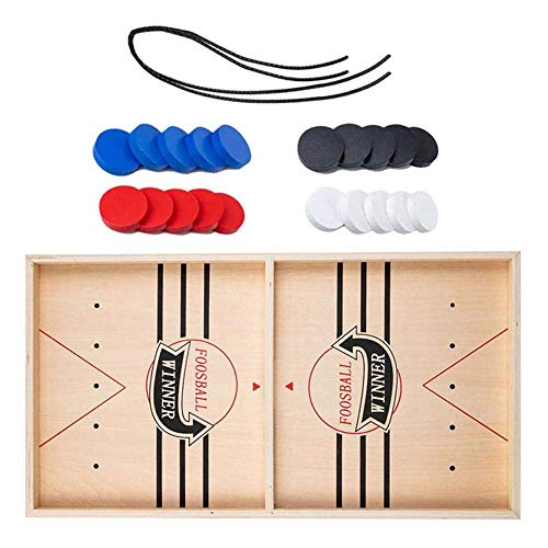 Wooden Hockey Game, Fast Sling Puck Game, Wooden Desktop Hockey Game for Kids and Adults, Table Desktop Battle 2 in 1 Ice Hockey Game, Parent-child Interactive Game Set for Family Party (Groß)