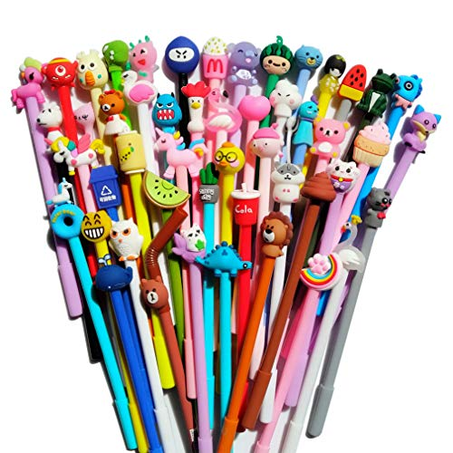24 pack Cute Cartoon Gel Blue Ink Pens Assorted Style Writing Pens for Birthday Present School Prize Student Gift Fun Girl Pens (blue)