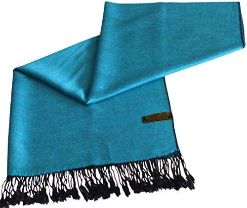 CJ Apparel CJ Apparel Türkis & Schwarz Einfarbiges Design Stola Schal Umschlagtuch Schultertuch Tuch Zweite Wahl Pashmina NEU