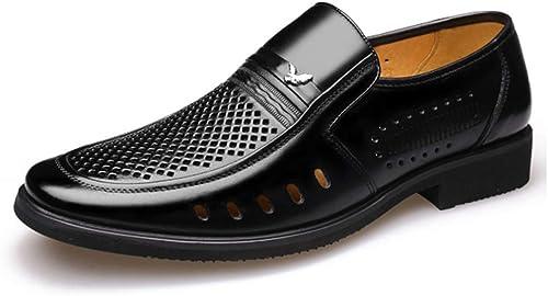 LXYIUN Chaussures ajourées pour Hommes,Première Couche de Peau de Vache VêteHommests de cérémonie Chaussures d'affaires Chaussures à tête Ronde Noir,40