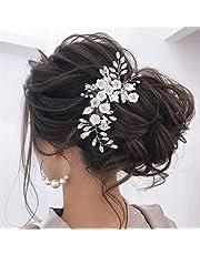 Unicra Diadema de novia con diseño de flores para novia, accesorio para el pelo para dama de honor y mujeres