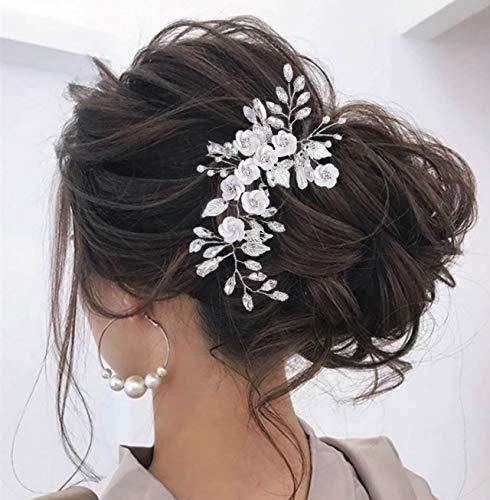 Unicra Flower Bride Hochzeit Haarrebe Silber Kristall Braut Stirnband Blatt Kopfbedeckung Haarschmuck für Brautjungfer und Frauen