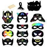24 hojas Scratch Art Máscaras,SEELOK Papel de Rascar Superhéroes DIY Masks Superhombre Dibujo Scratch Láminas Suministros de Fiesta de Superhéroes Disfraces Cosplay Regalo para Niños