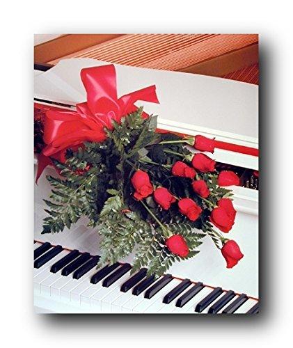Rote Rosen, für romantische Klavier/Musikinstrument Poster Kunstdruck (40 x 50)