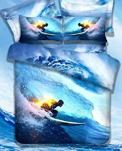 GSYHZL Bedding Juego de Funda de Edredón,Juego de Ropa de Cama Doble para Deportes Extremos en 3D,Funda nórdica y Funda de Almohada con Estampado de Surf para niños y Adolescentes-A_220x240cm(3pcs)
