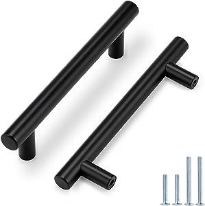 Probrico 30 Pack|4 Inch Black Cabinet Handles Stainless Steel, Cabinet Pulls Round T Bar Modern Style,Kitchen Cupboard Cabinet Hardware Door Handles,Drawer Dresser Pulls,Total Lenght:162mm(6-2/5 Inch)