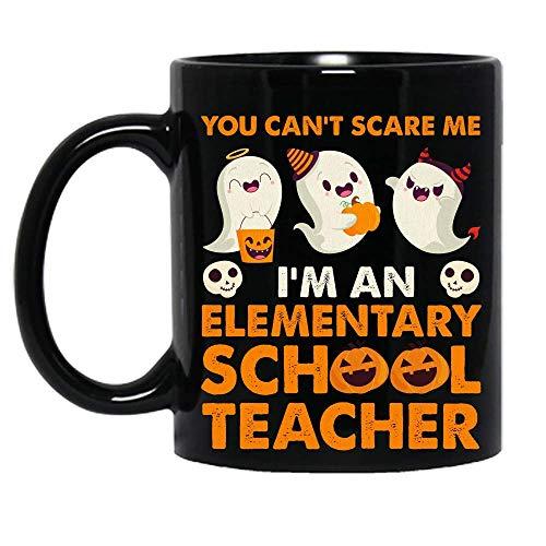 N\A You Can 't Scare Me I' Soy un Maestro de Escuela Primaria Disfraz de Halloween Fiesta de la Escuela Taza de cermica Tazas de caf grficas Tazas Negras Tapas de t Novedad Personalizada 11 oz