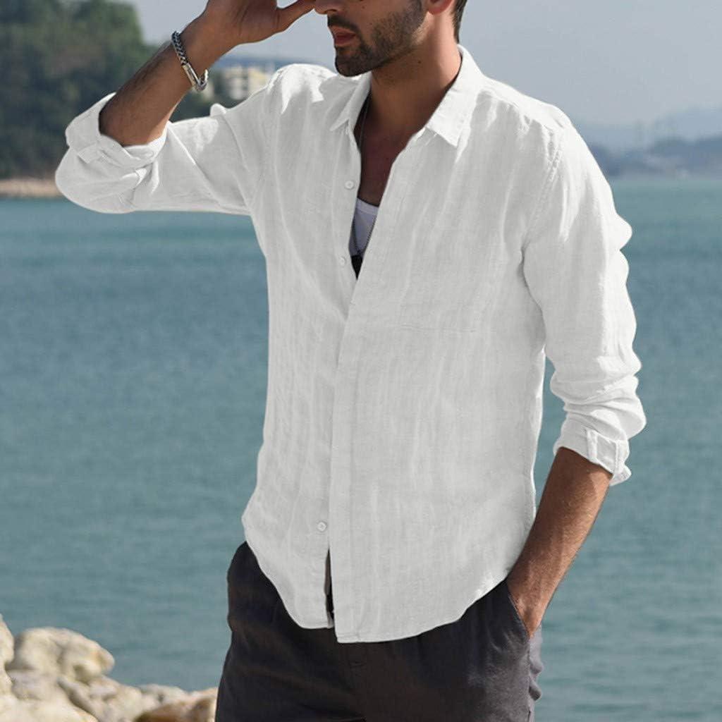 XXBR Cotton Linen Shirts for Mens, Fall Button Down Beach Tops Long Sleeve Curved Hem Lightweight Basic Casual Shirts