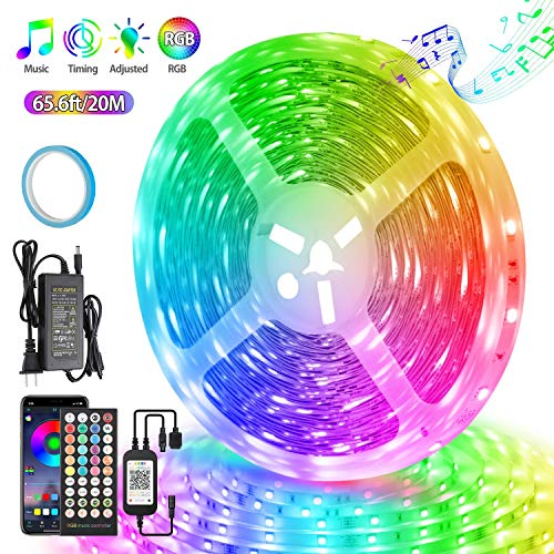 LED Strip Lights 65.6ft/20m, Ultra-Long Color Changing LED Light Strip Music Sync, App Control 600LEDs RGB LED Tape Lights with Bluetooth Controller \& 40Key Remote Controller for Bedroom Ceiling Home
