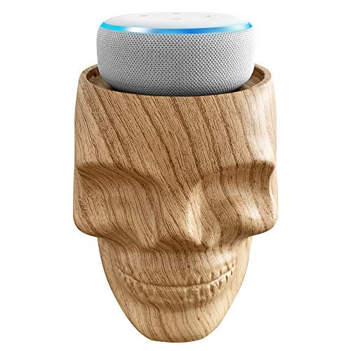 Dekodots Smart Speaker Table Stand (Wood Skull) - Decorative Holder for Amazon Echo Dot or Google Home Mini - Portable Design, No Sound Distortion