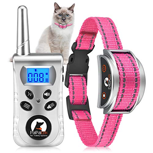 Paipaitek Cat Training Collar, No Shock Cat Collar with Remote, Humane Cat Meow Collar w/Beep and Vibration Modes, Reflective Cat Collar for Kittens