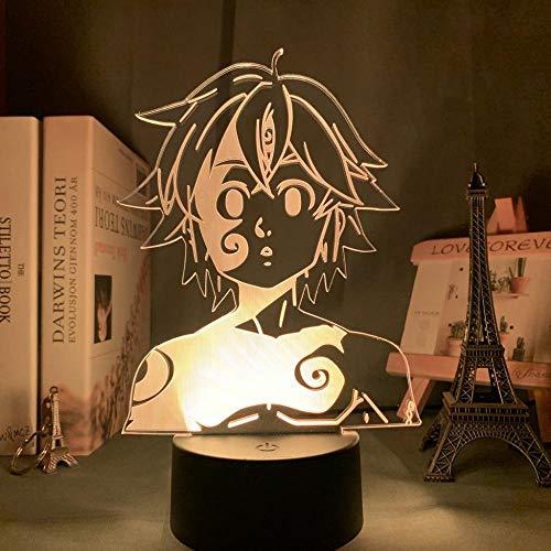 Acryl Nachtlicht Lampe Manga Die Sieben Todsünden Gadget Für Home Room Dekorative Licht Meliodas Figur Kinder Tischlampe Geschenk-Dm35_7 Farben Keine Fernbedienung