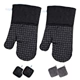 ACENX Oven Mitts&Pot Holders&Rag Sets, Double-Side Heat Resistant Oven Gloves with Terrycl...