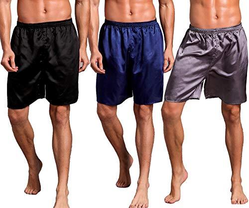 Admireme Men's Satin Boxers Shorts Silk Pajamas Shorts Boxer Sleep Work Travel Underwear