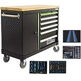Werkstattwagen DELUXE 6 Schubladen + Tür bestückt Werkzeugwagen 130 tlg. Assistent | Arbeitsfläche 108x46,5cm Massivholz Gummibaum