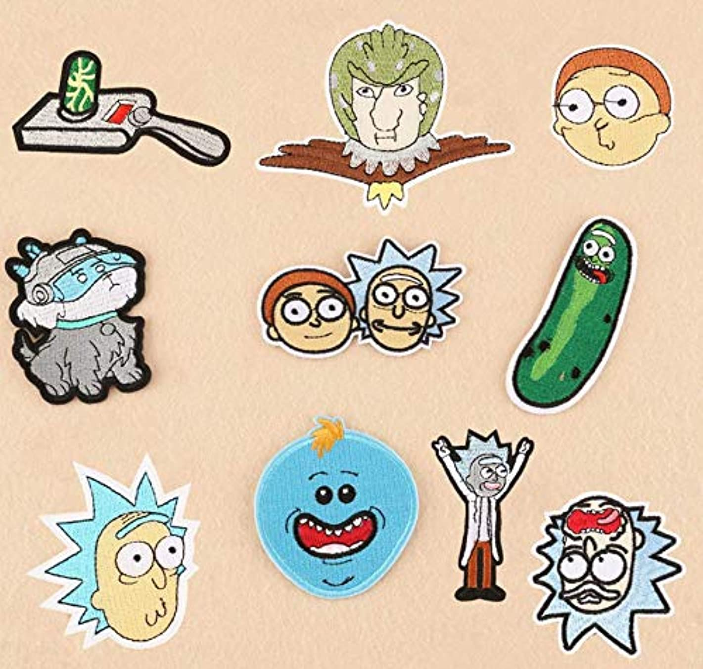 Astra Gourmet 10pcs Rick & Morty Embroidered Iron on Sew on Patches,Fabric Patches,Embroidered Badges,Appliques Patch DIY Accessory