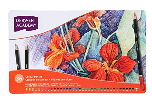 Derwent Academy Colored Pencils, Metal Tin, 36 Count (2300225)