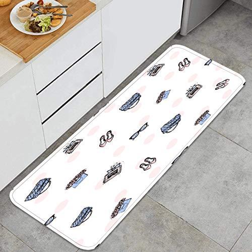 ZHIMI Multiuso Tappeti Cucina,Modello Senza Cuciture Glamour colorato Morbido di Tendenza,Antiscivolo Tappeti per Cucina Lavabile Tappeti Bagno Zerbino Tappeto 45 x 120cm