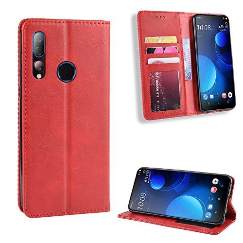 fancartuk Kompatibel mit HTC Desire 19 Plus Hülle Leder, PU Brieftasche etui Schutzhülle Tasche Slim Flip Case Cover mit Magnetverschluss für HTC Desire 19 Plus (Rot)