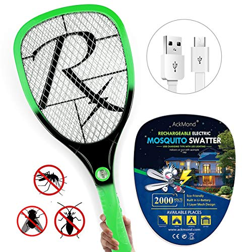 Samoa Matamoscas eléctrico Mosca Raqueta Mosquitos Moscas USB con Luces con Nuevo Mango