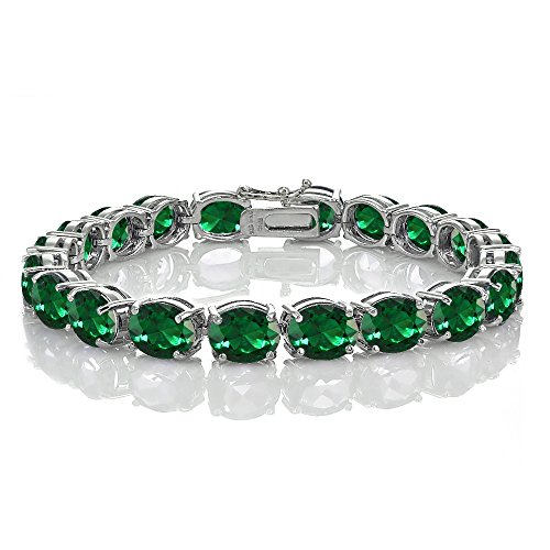 Ice Gems Sterling Silver Created Emerald 9x7mm Oval Tennis Bracelet