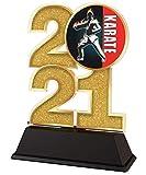 Trophy Monster Trofeo de karate 2021 de 85 mm, oro, plata o bronce, hecho de acrílico impreso, elegir entre 4 tamaños