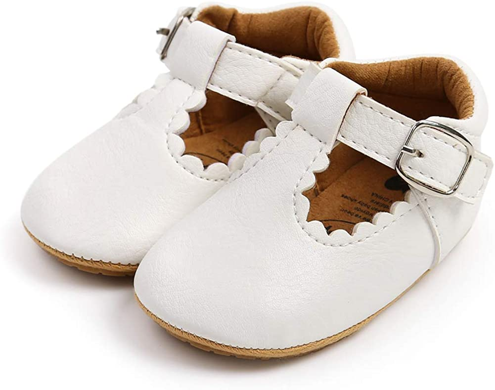 XYLUIGI Baby Girls Mary Jane Flats Bowknot Anti-Slip Rubber Sole Toddler First Walkers Princess Dress Shoes