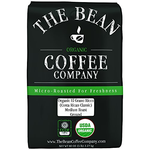The Bean Coffee Company Organic El Grano Ricco (Costa Rican Classic), Medium Roast, Ground, 5-Pound
