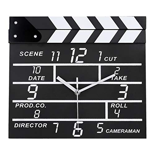 Lafocuse Reloj de Pared Silencioso Madera Creativo Reloj Quartz Movie Clapper Negro Rectángulo para Salon Comedor Dormitorio 30 * 27 cm