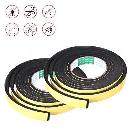 YFOX Cinta aislante de espuma de alta densidad,cinta resistente a la intemperie para sellos de puertas, impermeabilización de ventanas, saneamiento, aire acondicionado (2 rollos 3mm*10 mm*5m negro)