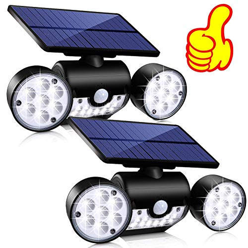 Topmante Solar Motion Sensor Lights Outdoor Lighting, 30 LED IP65 Waterproof 360° Adjustable Solar Powered Wall Lights Dual Head Spotlight Flood Security Lights for Front Door Yard Garden Garage
