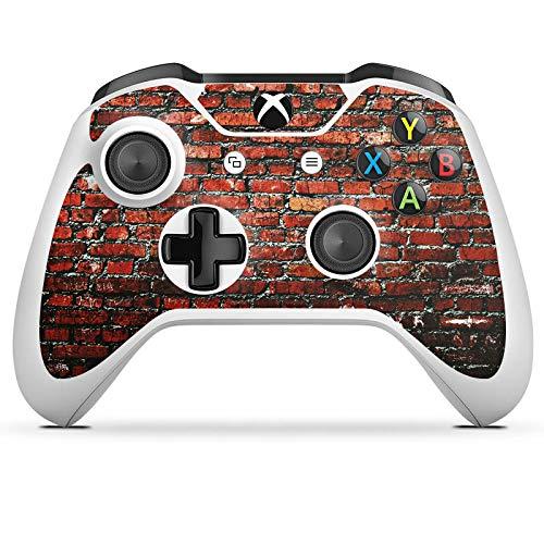DeinDesign Skin kompatibel mit Microsoft Xbox One S Aufkleber Folie Sticker Backstein Steinwand Steine Rot