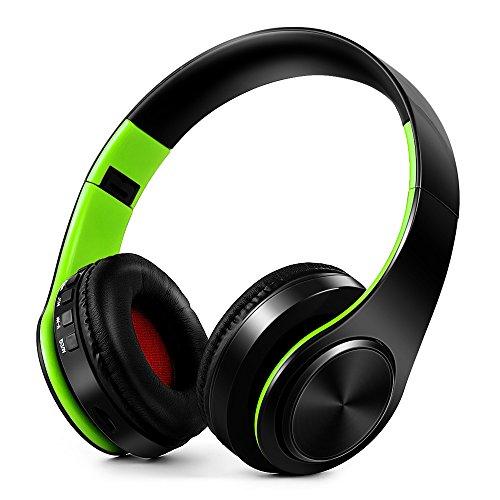 Docooler Fones de ouvido sem fio Bluetooth Estéreo Bluetooth 4.0 Fones de ouvido MP3 Player Cartão TF Rádio FM 3.5mm Fone de ouvido com fio Mãos-livres c/Microfone Verde