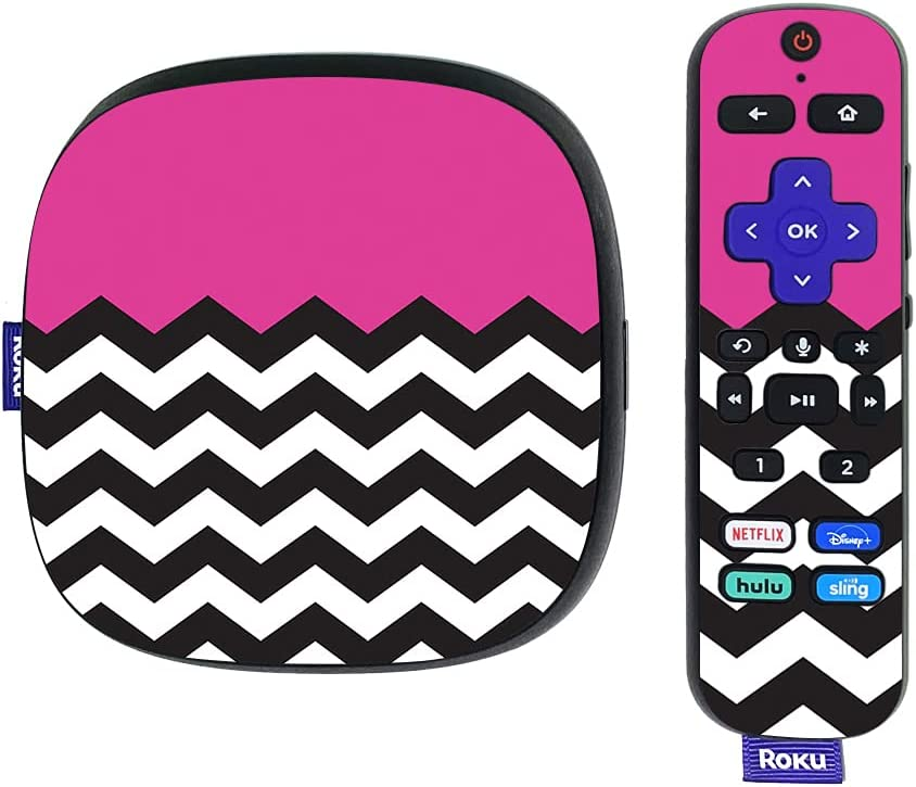MightySkins Skin Compatible with Roku Ultra HDR 4K Streaming Media Player (2020) - Hot Pink Chevron | Protective, Durable, and Unique Vinyl Decal wrap Cover | Easy to Applys | Made in The USA