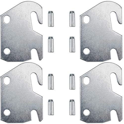 PAGOW #10 Hook Plates for Wooden Beds, 4 Packs Hook Plate Frame Bracket Headboard Footboard with Pin Replacement Wooden Bed