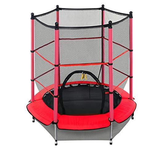 DREAMADE Trampolino da Giardino Tappeto Elastico per Bambini con Rete di Sicurezza,Diametro di 140 cm (medello 3)