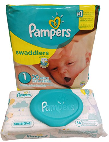Pampers Swaddlers Diapers Size 1 20 Count  Pampers Sensitive Wipes Travel Pack 50 Count