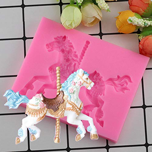 YCEOT 3D Carousel Horse Cake Silicone Molds Baby Birthday Party Cake Decorating Fondant Mold Candy Chocolate Gumpaste Moulds