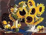 MYQF Pintar por Numeros Canasta de Flores Girasol DIY Pintura Al Óleo Pintar por Numeros 40x50 Cm con Pinturas Acrílicas Y 3 Pinceles Decoracion De Pared Regalos