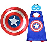 Fun Factorys Superhero Toy Captain America 12' Shield and Superhero Cape Set Superhero Dress up Costumes Suit for 4-10 Year Kids Boy Role Play Toy