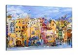 Cuadro sobre lienzo - Impresión de Imagen - casco antiguo casa de vivienda - 100x70cm - Imagen Impresión - Cuadros Decoracion - Impresión en lienzo - Cuadros Modernos - AA100x70-3419