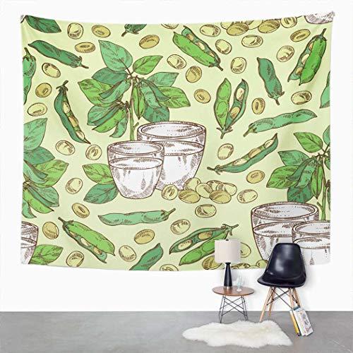 Y·JIANG Tapiz de leche de soja, un vaso de soja y planta de soja para el hogar, dormitorio, manta de pared ancha para colgar en la sala de estar, dormitorio, 203 x 152 cm