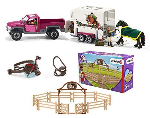 3in1-SET Schleich Pferde Horse Club - Pick-up mit Anhänger extra Pferdekoppel und Sattel 42346 + 42434 + 42489