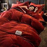 juego de funda nórdica 104-Invierno grueso pigmento puro color de doble cara cálido antiestático franela cama individual funda nórdica individual funda de almohada regalo-S._Cama de 2,0 m (4 piezas)