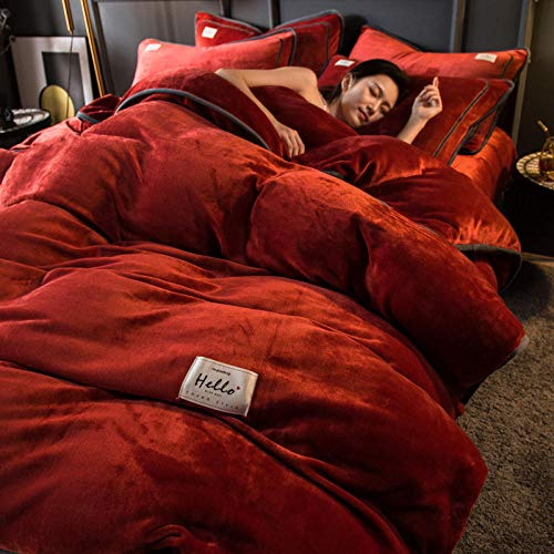 funda de edredón 194-Invierno grueso pigmento puro color de doble cara cálido antiestático franela cama individual funda nórdica individual funda de almohada regalo-S._Cama de 1,2 m (3 piezas)