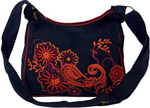 GURU SHOP Schultertasche, Hippie Tasche, Goa Tasche - Schwarz/rot, Herren/Damen, Baumwolle, Size:One Size, 23x28x12 cm, Alternative Umhängetasche, Handtasche aus Stoff