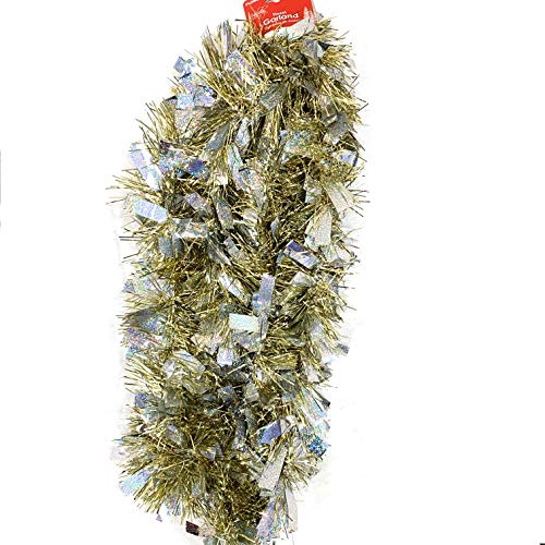 Worlds 9ft Christmas Chunky Tinsel Garland for Christmas Decorations Gold&Silver